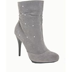 These mid-calf slouchy boots from Italina feature faux suede uppers detailed with dazzling rhinestone embellishments. An inside zipper allows for easy wear of these 3.5-inch stiletto heeled, grey boots.