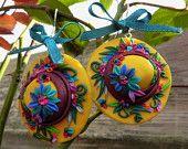 Polymer Clay Summer Hat Earrings - Polymer Clay Earrings Sculpted Appliqued - Polymer Clay Flower Earrings - Hat Shaped Earrings