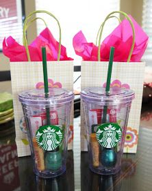 Great gift idea! Buy a Starbucks plastic cup and fill with little gifts like a target gift card, Chapstick, nail polish, etc.