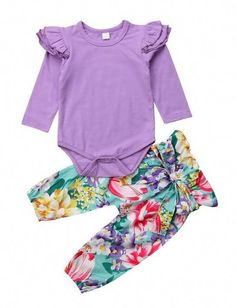 adcfa42799 Purple Floral Baby Girl Boutique Outfit Baby Girl Boutique