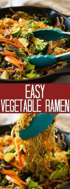 super Easy Vegetable Ramen is full of tender crisp vegetable, tender noodles and a flavorful sauce. Plus this meal can be made in only 20 minutes! Comida Ramen, Vegetable Ramen, Vegetable Pasta Recipes, Veggie Ramen Recipe, Vegetable Casserole Healthy, Vegetable Entrees, Easy Vegetable Side Dishes, Vegetarian Ramen, Chinese Food Vegetarian
