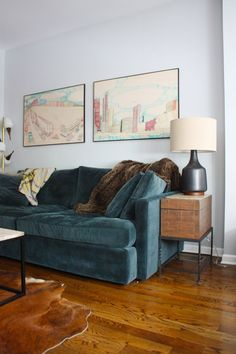 Morten Table Lamp + Box Frame Coffee Table from west elm