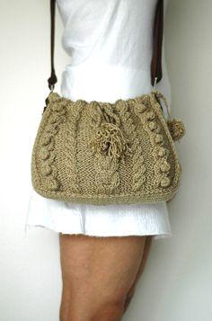 yellow summer bag- Handbag Celebrity Style With Genuine Leather Straps / Handles shoulder bag-crochet bag-hand made Crochet Handbags, Crochet Bags, Diy Handbag, Boho Bags, Purse Styles, Summer Bags, Knitted Bags, We Wear, Handmade Bags