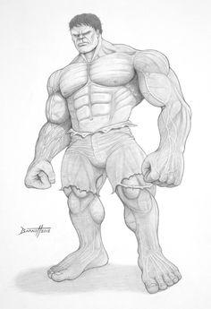 The Incredible Hulk - Pencil by barneybluepants on DeviantArt Batman Drawing, Marvel Drawings, Comic Drawing, Cartoon Drawings, Cool Drawings, Pencil Drawings, Hulk Marvel, Marvel Comics, Hulk Comic