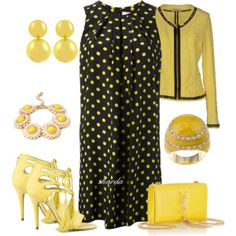 """yellowblack"" by gaitriesharda on Polyvore"