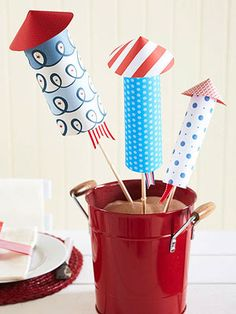 Paper Rocket Centerpiece for the Fourth of July