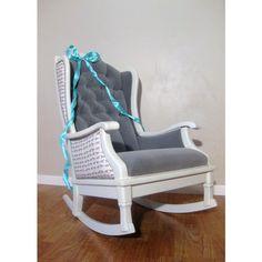 Antique Vintage Nursery Rocker Rocking Chair White Grey Velvet Upholstered Modern Chic