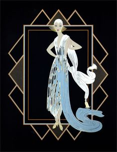 ERTE. Graphics. California (Turquoise dress)