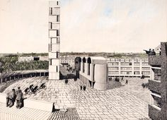 Churchill College Competition, persepctive by Gordon Cullen