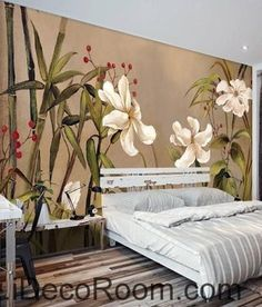 Vintage Bamboo Flower Wallpaper Wall Decals Wall Art Print Mural Home Decor Gift Nice for painting fence for Asian themed yard. Framed Wall Art, Wall Art Decor, Wall Murals, Wall Art Prints, Casa Loft, Asian Home Decor, Inspirational Wall Art, Wall Wallpaper, Flower Wall