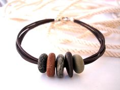 Beach Stone Unisex Surfers Jewelry  LEATHER SILVER by StoneAlone, $22.50