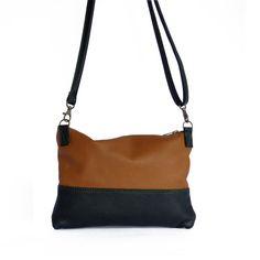 Leather Clutch bag, Leather acrossbody bag, Hibrid black and Brown, brown shoulder bag, leather shoulder bag, leather travel bag, woman bag  LEATHER
