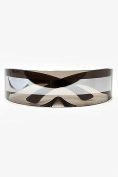 'Tron' Futuristic Curved Bar Sunglasses - Black/Black #5062-1