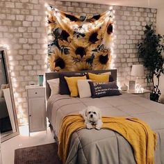 32 Beautiful Yellow Bedroom Decor Ideas You Will Love - The bedroom is the first room that we see when we wake up in the morning and the last before we go to sleep. The colors that we use in our bedroom dec. Cute Room Ideas, Cute Room Decor, Room Ideas Bedroom, Bedroom Themes, Diy Bedroom, Girls Bedroom, Teenage Girl Bedroom Decor, Bedroom Inspo, Bed Room