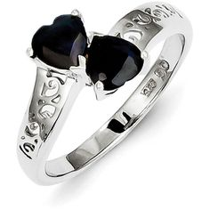 Sterling Silver Rhodium Dark Sapphire Qtz Heart Ring (830 CZK) ❤ liked on Polyvore featuring jewelry, rings, sterling silver, rhodium ring, sterling silver jewellery, heart jewelry, heart ring and sterling silver heart ring