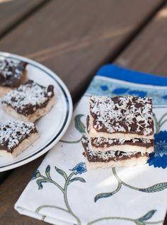 Carob Coconut bars: AIP, Paleo Cookie. Gluten free, dairy free, nut free, seed free, egg free, grain free, sugar free
