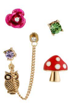 Mushroom & Owl 5-Stud Earrings Set - Betsey Johnson