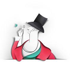 Eiko Ojala Eustace Tilley for New Yorker anniversary issue in February Paper Art Cardboard Sculpture, Cardboard Art, Paper Illustration, Digital Illustration, Paper Cutting, Cut Paper, Eiko Ojala, Paper Art Design, Sunday Paper