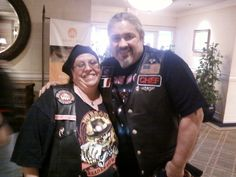 Chief, the founder of B.A.C.A. (Bikers Against Child Abuse) with SweetNLow.