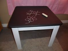 DIY Chalkboard Table -- great gift idea for Layla