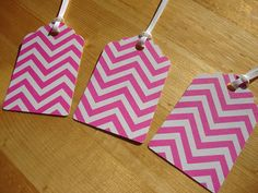 Gift Tags  Qty: 12  Pink Chevron  Treat Tags  by CreativeHolidays