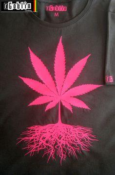 NEW cannabis leaf roots T Shirt Neon Pink marijuana by RGoblin