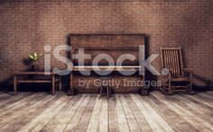 Old room with piano background royalty-free stock photo