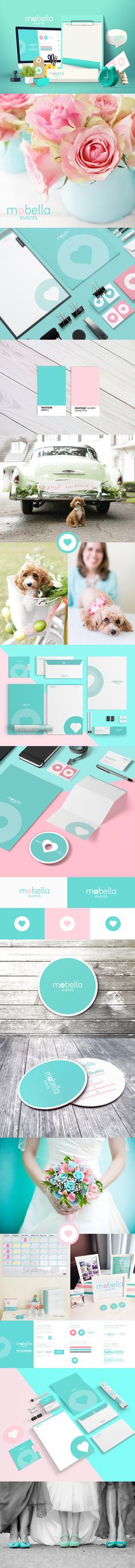 Mobella events - A branding identity for Mobella events a wedding event company located in Orlando USA.  They are designers & planners seeking to inspire the heart, celebrate our blessings and help strengthen the foundations of marriage and family.  #wedding #planner #mobella #orlandowedding #truelove #dog #love #heart #tiffanyblue #pink #pastel #bells #bridal #identity #brandingguide #pantone