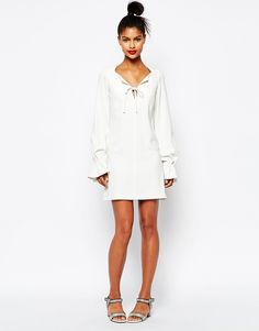 Image 4 ofSonia by Sonia Rykiel Fluted Sleeve Dress in White