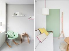 Love the mint wall and threads of hot pink.