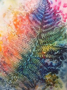 Monoprinting with Watercolor and Leaves, big fun!