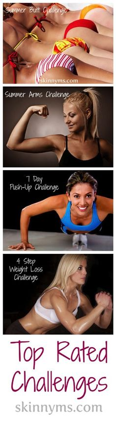 Having trouble deciding where to start with workouts? Here are 4 of the Top-rated Skinny Ms Challenges!! #fitness #challenge #workout