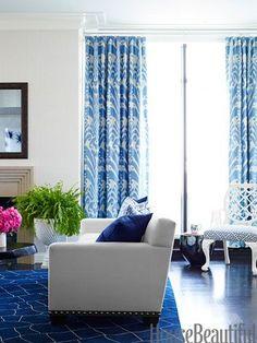 Blue & white living room.
