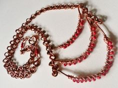 3 Tier Orange and Copper Bar Wrapped Necklace with by aleathabean, $35.00