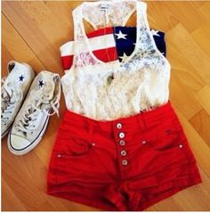Perfect Fourth of July outfit i kinda love this? but maybe with flip flops and blue high waisted shorts instead.