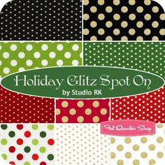 "How the Grinch Stole Christmas Fat Quarter Bundle - Black & Gold Polka Dot ""Glitter"""