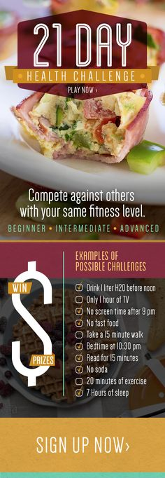 Compete against others with same fitness level for 21 Days.  Actually have fun getting #healthy! http://www.nodietsallowed.com/21-day-health-challenge/