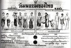 """Pibun-era (1938-1944) cultural edicts, instructing the Thais how to beoome more """"modern"""".  This flyer advises people to cease the dress styles and behaviors pictured on the left in favor of those on the right."""