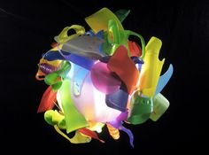 By South African designer Heath Nash- eclectic chandelier made almost entirely from recycled PET bottles