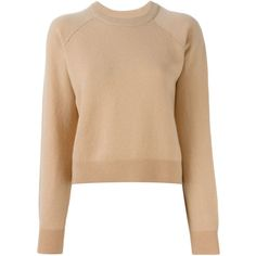Alexander Wang Cropped Sweater ($335) ❤ liked on Polyvore featuring tops, sweaters, crop top, beige sweater, long sleeve tops, alexander wang and cropped sweater