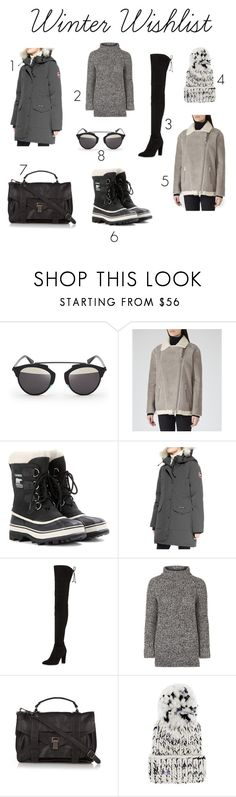 """Winter Wishlist"" by mystylepill ❤ liked on Polyvore featuring Christian Dior, SOREL, Canada Goose, Stuart Weitzman, Topshop, Proenza Schouler and Eugenia Kim"