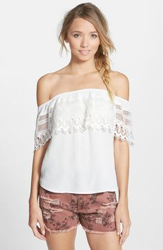 Socialite Crochet Off the Shoulder Top available at #Nordstrom