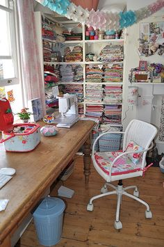 Ikea Chair Makeover 1 this craftroom seems like it would be super user friendly Creating useful and comfy room style is key for family friendly rooms. Sewing Spaces, My Sewing Room, Sewing Rooms, Sewing Box, Sewing Notions, Sewing Room Organization, Craft Room Storage, Craft Rooms, Fabric Storage