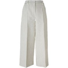 3.1 Phillip Lim Striped Cropped Trousers (2.265 RON) ❤ liked on Polyvore featuring pants, capris, white, highwaisted pants, white high waisted pants, wide leg cropped pants, white crop pants and striped wide leg pants