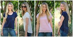 This is the perfect tee for any spring and summer wardrobe! The classic high-low cut is flattering and perfect for your favorite jeans or shorts. The polka dot detailing on the back and chest pocket makes this top not only easy to wear, but utterly adorable. 100% RayonSizing:Small 0-4Medium 4-8Large 8-12 *Size down if between sizes*