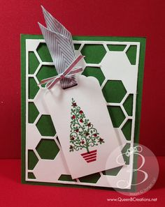 Stampin' Up! Scallop tag topper punch take with festival of trees stamp set and hexagon hive background