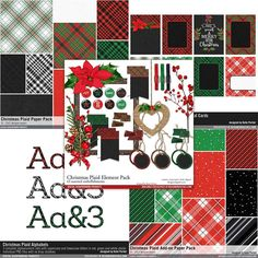 Christmas Plaid Scrapbooking Collection Plaids in red black and green for a festive holiday scrapbook collection #designerdigitals