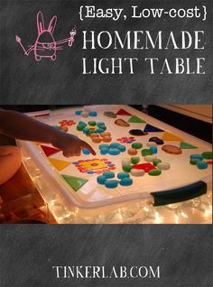 Another DIY light table: Easy Low Cost Homemade Light Table Sensory Table, Sensory Bins, Sensory Activities, Sensory Play, Toddler Activities, Preschool Activities, Creative Curriculum Preschool, Multicultural Activities, Emergent Curriculum