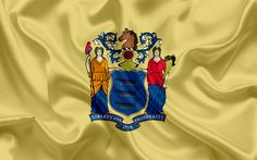 Download wallpapers New Jersey State Flag, flags of States, flag State of New Jersey, USA, state New Jersey, yellow silk flag, New Jersey coat of arms