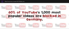 60% of YouTube's 1,000 most popular videos are blocked in Germany.